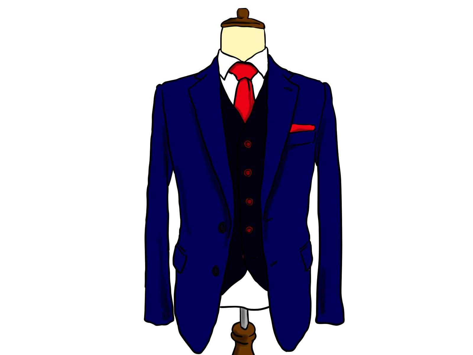 白いシャツに赤いネクタイ、紺のジャケットがマネキンで飾られている