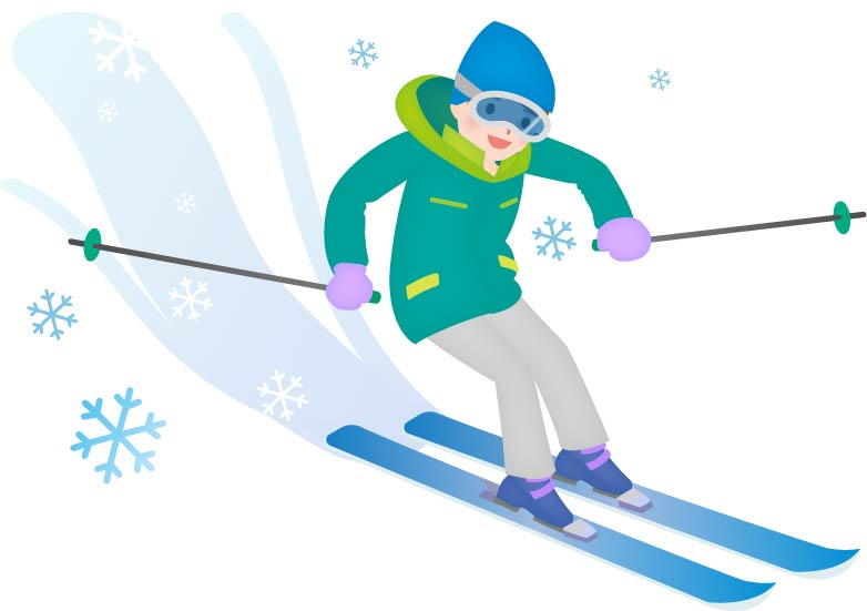 中級者のスキーヤーが気持ちよく滑降中