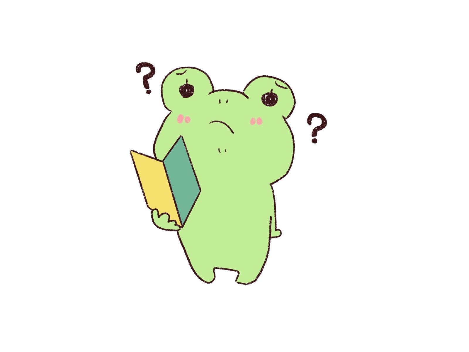 緑のカエルが初心者マークを持ってハテナ中